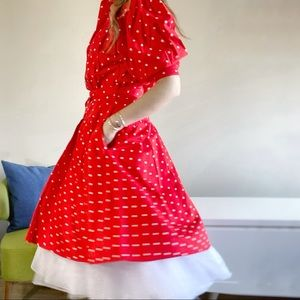 80s does 50s vintage red polka dot full dress